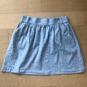 Ann Taylor Loft Outlet Linen Blue Pull On Skirt